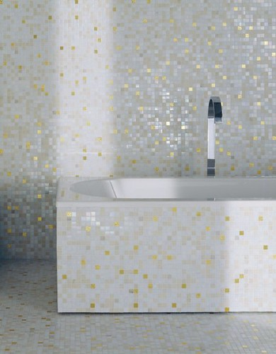 Creative Gold Fixtures In The Bathroom Is A Look Were Seeing More And More Of, And Paired With A Black And White Color Scheme, They Add A Pleasing Bit Of Drama To A Humble Space Above A Black Ceiling, Black Door, And Encaustic Tile Floor Add