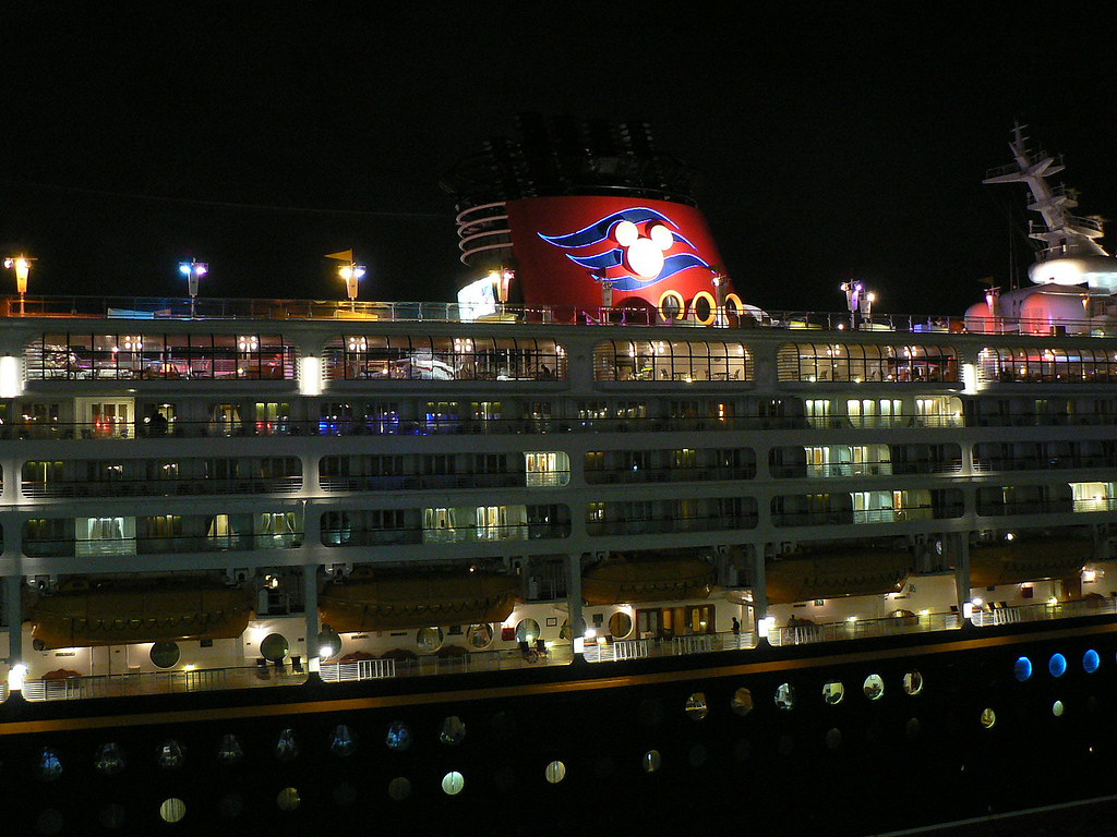 Disney Cruise Ship At Night We Pulled Into Nassau Next