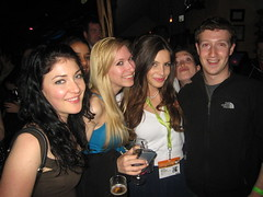 at the Facebook party - Melody, Maya, me, and Mark Zuckerberg.  Oh yes, and that's Randi's cute little fiz popping in between Mark & me.  For security reasons  ;) | by Julia Allison
