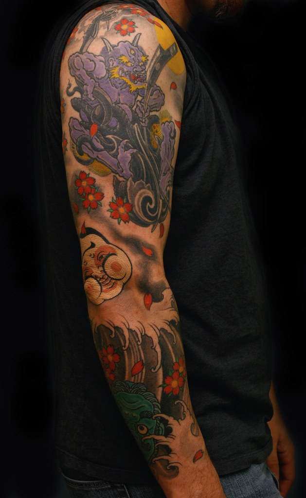 Oni fiddle, masks & blossoms sleeve by Filip Leu | tattoo