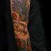 Oni fiddle, masks & blossoms sleeve by Filip Leu