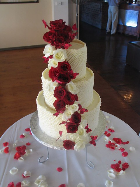 3 Tier White Chocolate Spanish Textured Ganache Wedding Cake With Red Roses Butterflies
