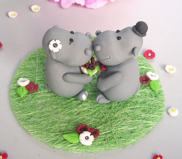 Hippo cake toppers -(wine, white, details) | Flickr ...
