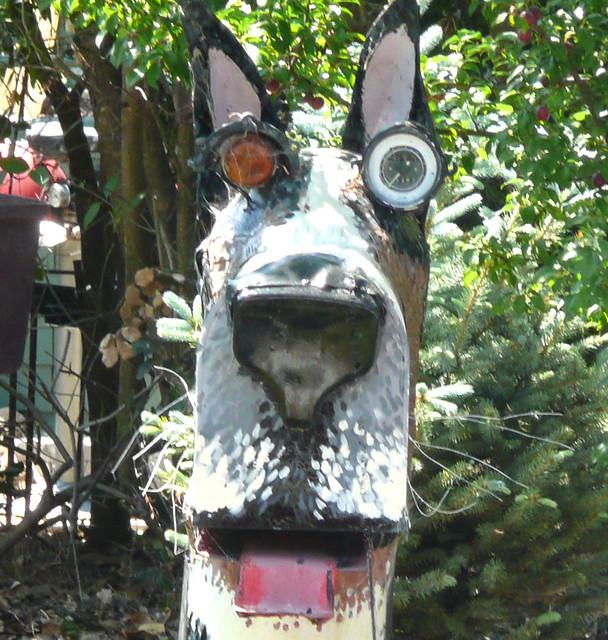 Metal Sculpture Dog Big Ears Missing Teeth