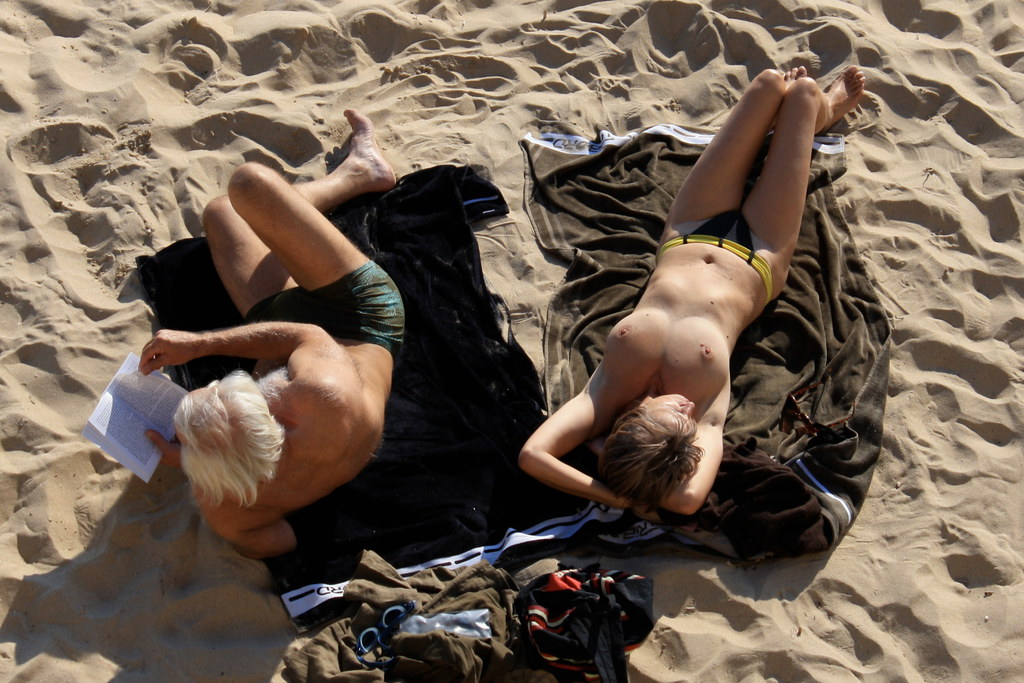 Sunbathing | A beach in Ajaccio. The French don't have the ...