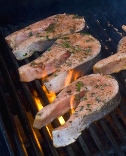 flame grilled salmon steaks (herb marinade recipe) | by woodleywonderworks