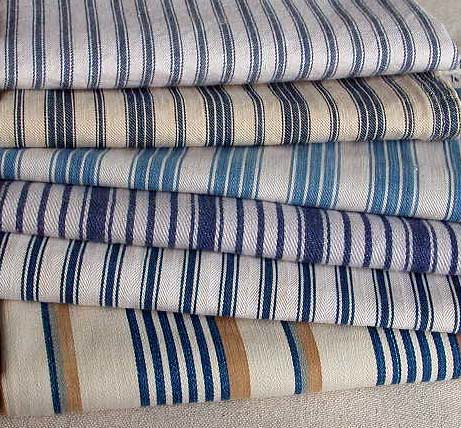 Stack ticking fabric   variety blue and white ticking ...