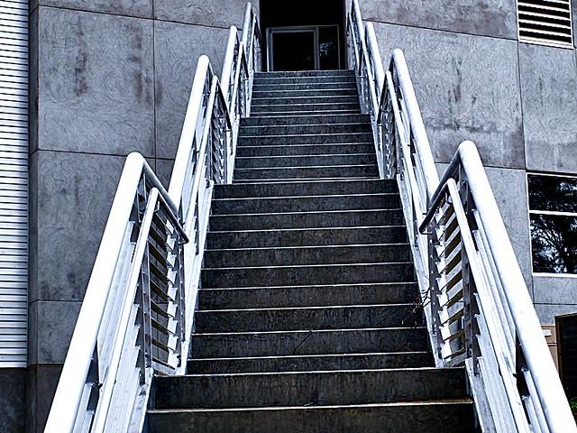 Looking up exterior metal stairs | 2009-01-28 wed -- Looking… | Flickr