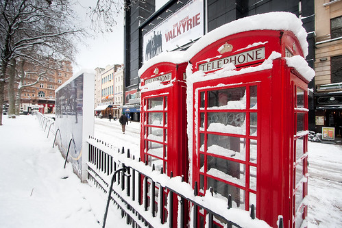London snow: Telephone boxes in Leicester Square | by E01