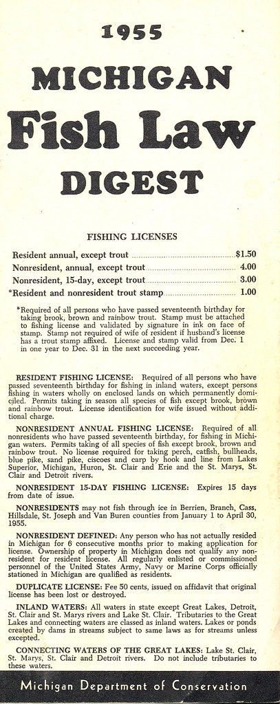 1955 michigan vintage fishing license law digest guide for Michigan fishing license online