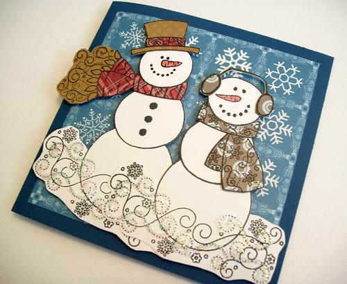Christmas snowmen handmade card flickr photo sharing for Handmade snowman christmas cards