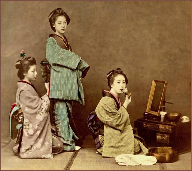 Three Kimono And Three Obi Geisha In Profile Preparing