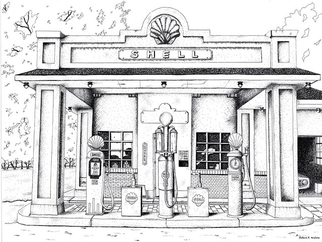 """Old Gas Station Drawing """"Pen & Ink..."""