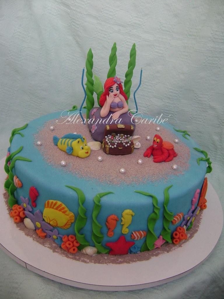 Bolo Ariel Pequena Sereia Com Ba 250 Cake Ariel Little Merm