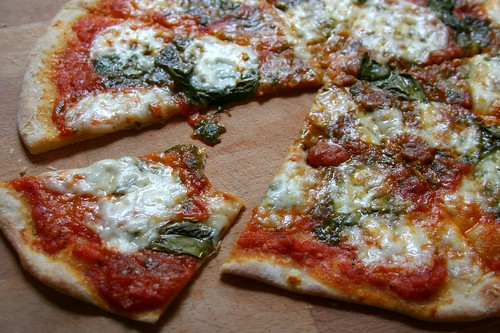 mmmmmm - pesto, fresh mozzarella, basil and spicy tomato sauce pizza ...