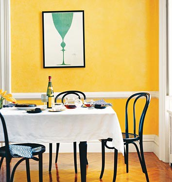 Yellow dining room blue poster domino walls are - Yellow and blue dining room ...