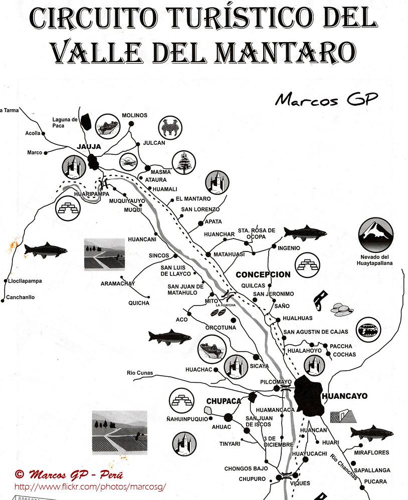 Circuito Turistico Ayacucho : Circuito turistico del valle mantaro peru mapa