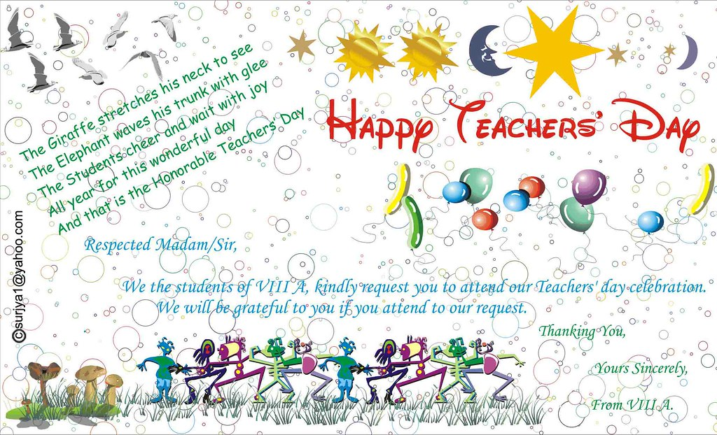 Teacher's Day Invitation   The Teachers' Day invitation ...