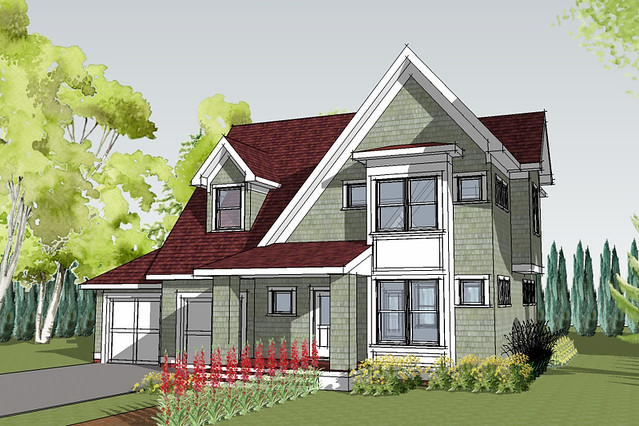 Hastings cottage house plan rendering house designed by Simply elegant house plans