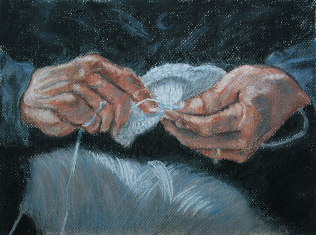 Hands Knitting Drawing : Knitting pastel on paper copied from clair miller