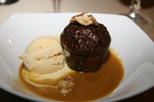 Sticky Date Pudding with butterscotch sauce and vanilla ic ...