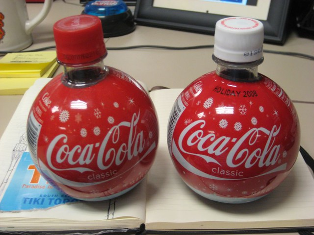 2007 2008 Coke Xmas Ornament Bottles Front On The