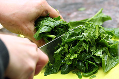 chopping spinach | by David Lebovitz