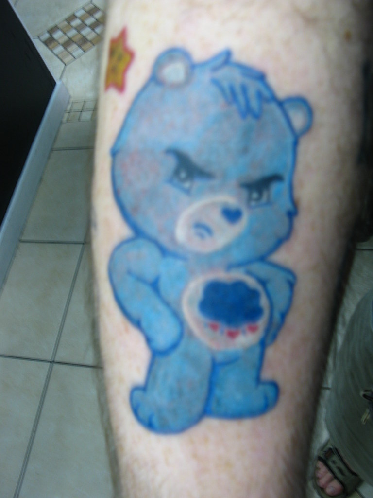 Colored Care Bears tattoo - Grumpy Bear! | The color work ...