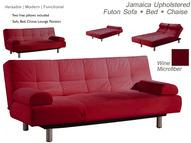 Jamaica upholstered convertible sofa bed chaise lounge for Chaise lounge convertible bed