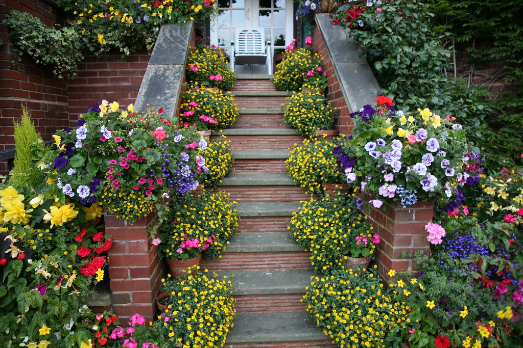 Upper garden late summer balcony steps english garden for Gardening 4 all seasons