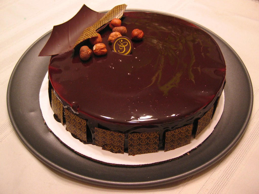 Hazelnut Chocolate Cake Composed Of Hazelnut Dacqouise