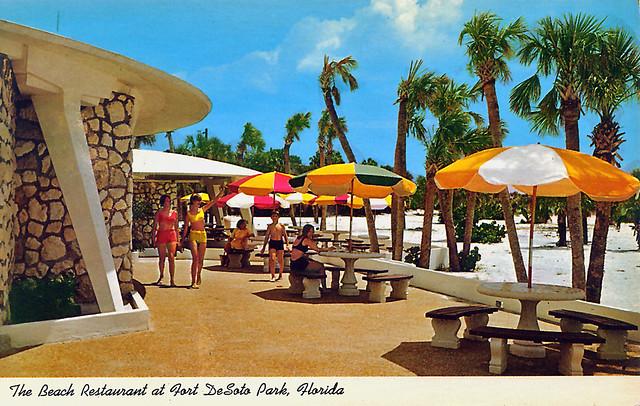 Postcard Of Ft Desoto Park Restaurant Patio 1960s Flickr