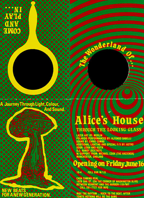 Alice 39 s house flyer to acid house party la 1988 1989 for Acid house party