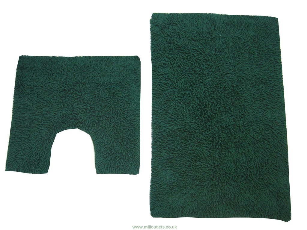Tumble Twist Design Bath Mat Set Dark Green These