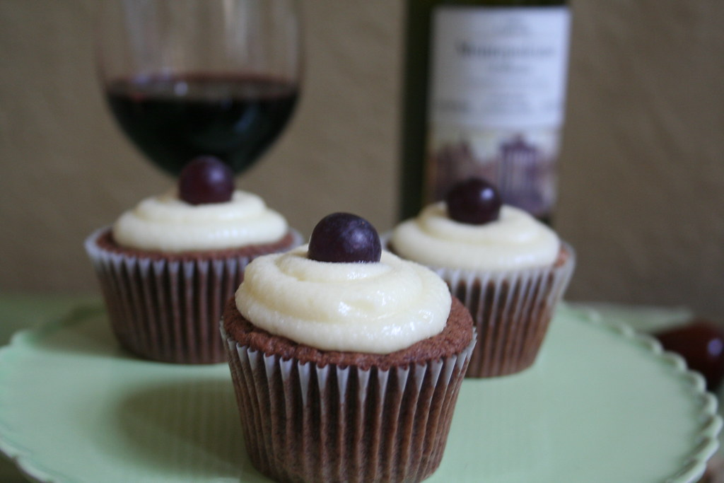Cheers! | Red Wine Chocolate Cupcakes with Marscapone ...