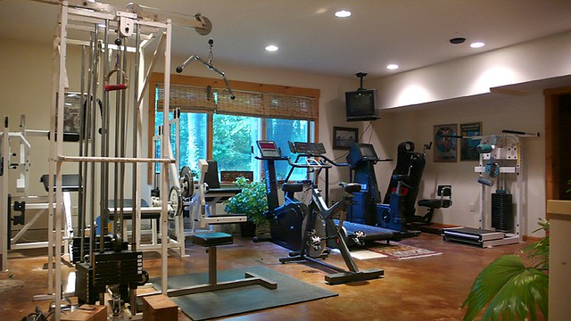 L1020754 Fitness Room Log Mansion Location Bergen County N