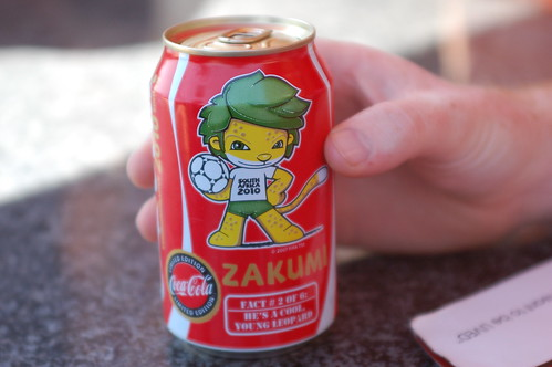 World Cup 2010 Mascot on a Coke | by whiteafrican