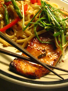 Miso Salmon with Soba Noodles topped with Pa Muchim (Scallion Salad) | by SeppySills