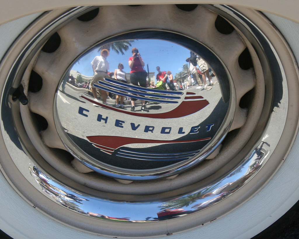 Self Portrait Vintage Chevrolet Hubcap Appropriate