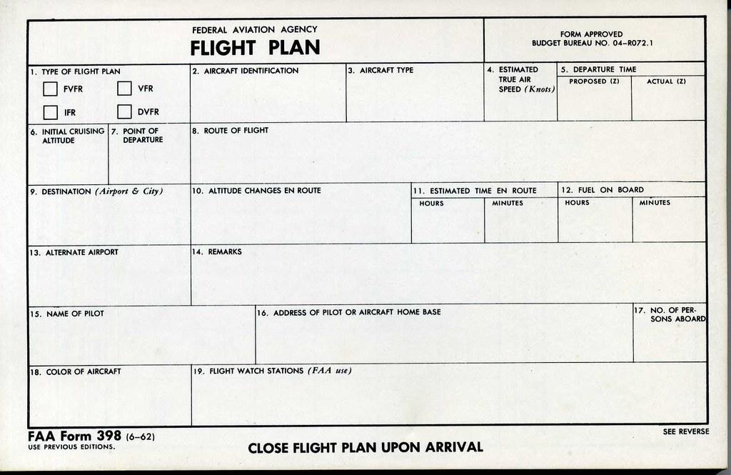 Flight Plan | 1962 FAA Flight Plan form. | born1945 | Flickr