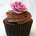 Chocolate Cupcake with Pink Rose
