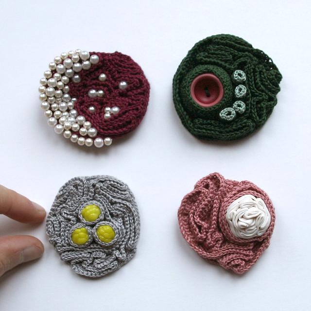 Four crochet brooches ulaniulani Flickr