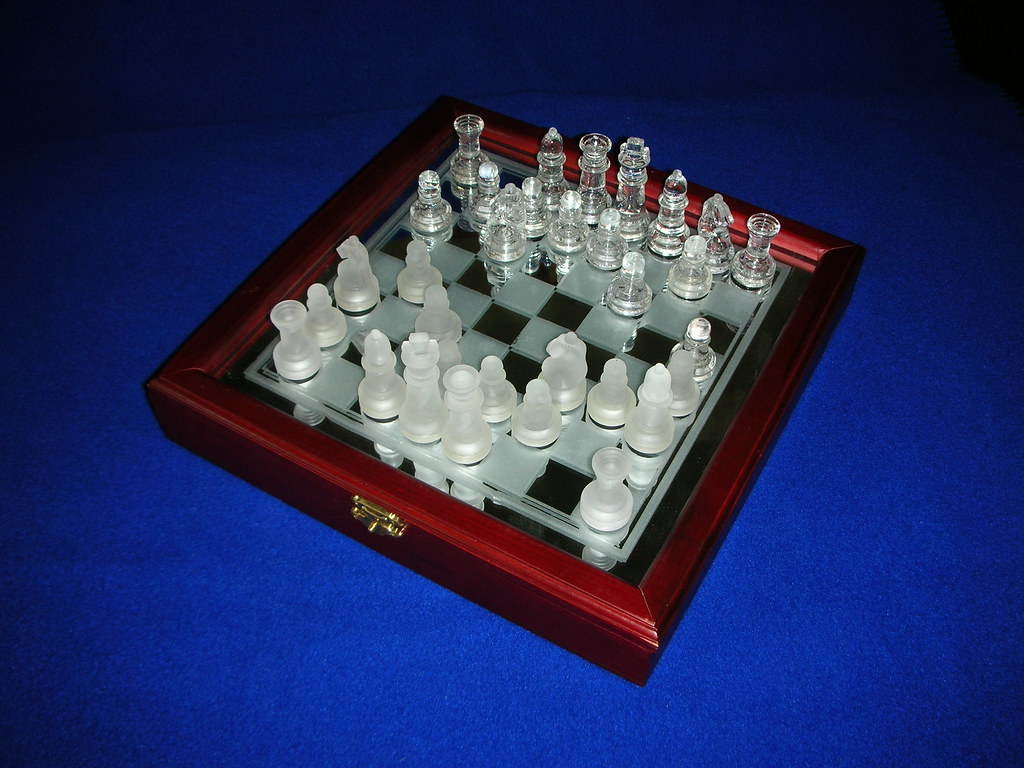 Glass Chess Set With Wooden Case Play Chess With This