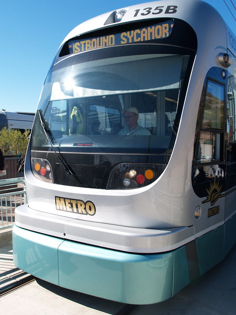 Valley metro light rail the operator of an eastbound valle