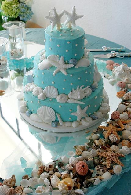 Wedding Cake Aqua Butter Cream Icing With Starfish And S
