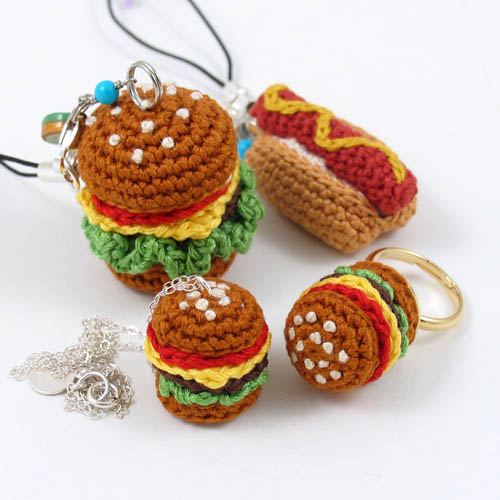 Amigurumi Food : Crochet Miniature Amigurumi Junk Food Jewelry miniature ...