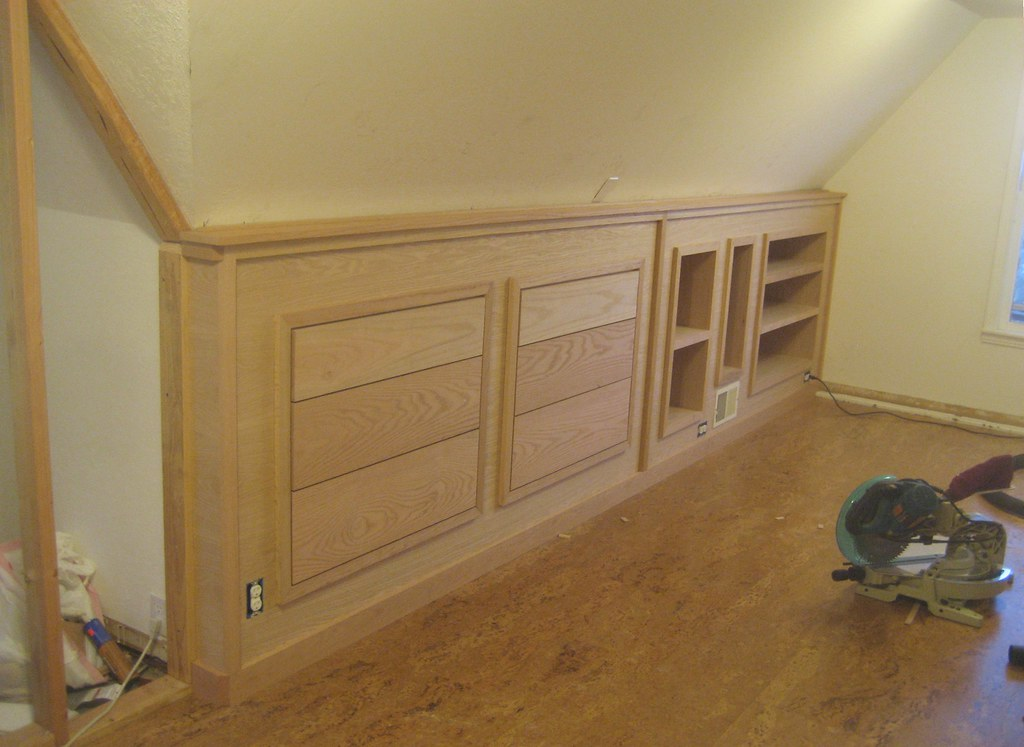 Upstairs Bed With Kitchen Cabinets