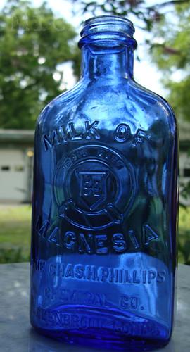 Old Cobalt Blue Philips Milk Of Magnesia Medicine Bottle