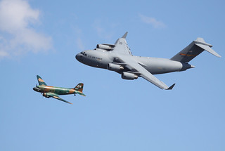 Boeing C-17 GLOBEMASTER III & Douglas C-47 Sky Train - Cargo Heritage Flight - Wings Over Houston 2008 | by AV8PIX Christopher Ebdon