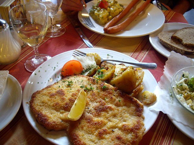 typical german lunch schnitzel and potatoes in frankfurt flickr. Black Bedroom Furniture Sets. Home Design Ideas
